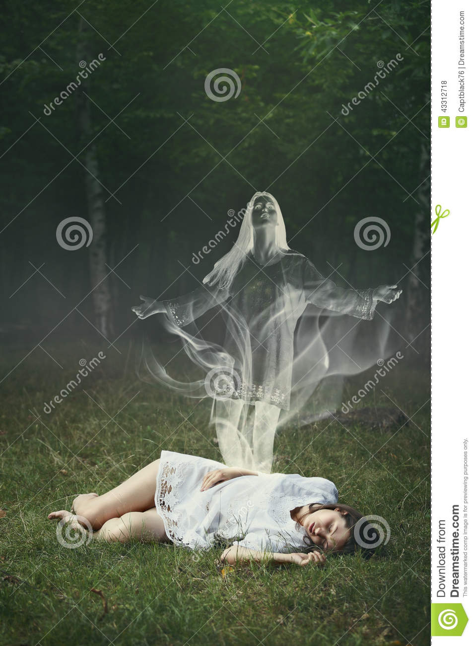 Soul of a sleeping woman in the forest