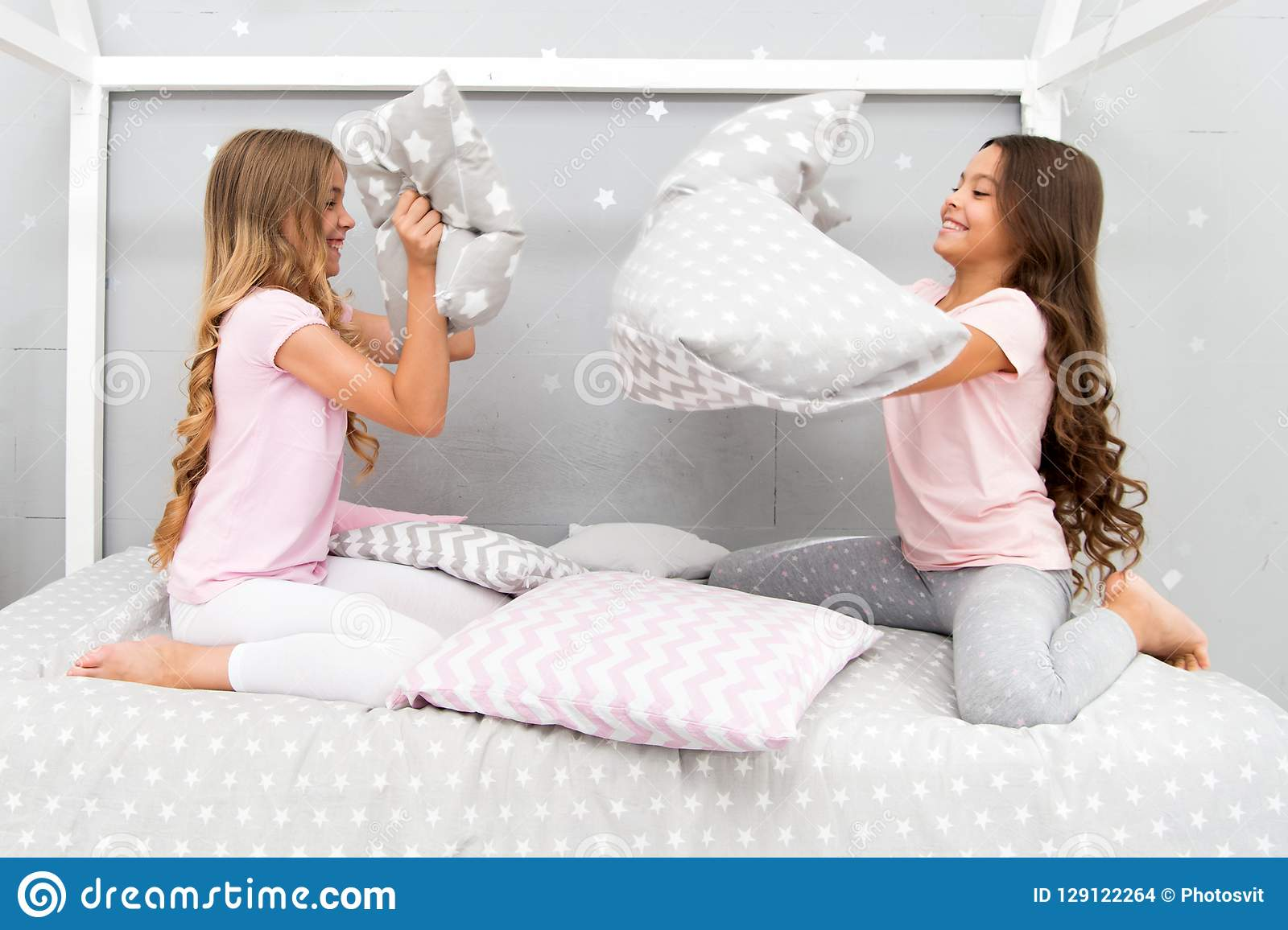 f23106a5dd Soulmates girls having fun sleepover party. Pillow fight pajama party. Sleepover  time for fun. Best girls sleepover party ideas. Girls happy best friends in  ...