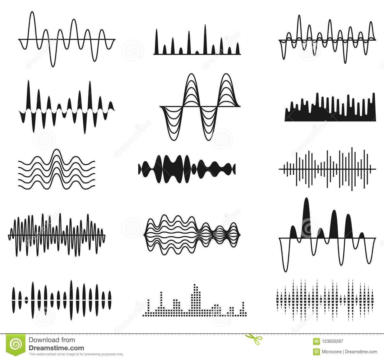 sound amplitude waves  radio signal symbols  audio music