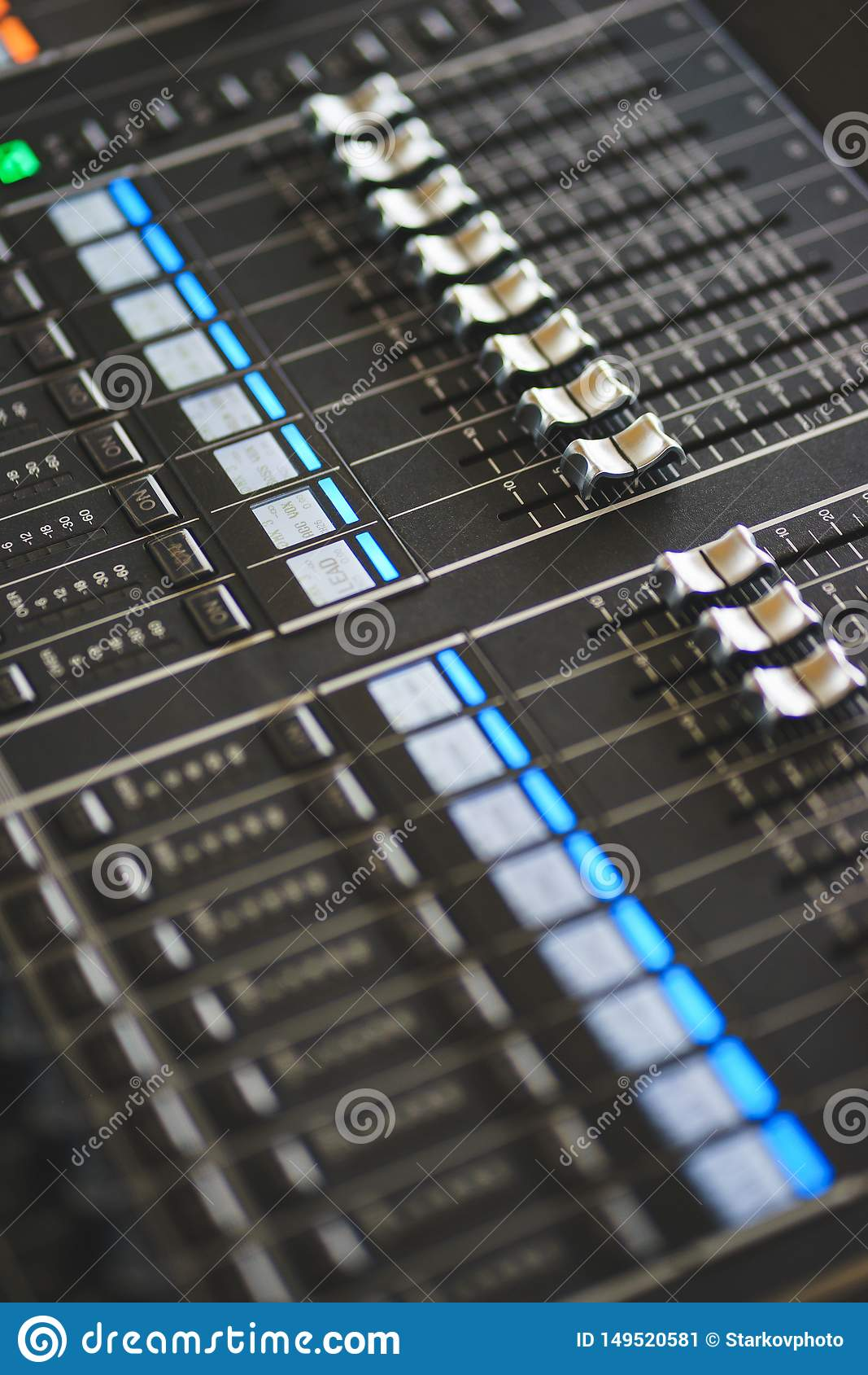 Sound equipment, large mixing console for sound producer.