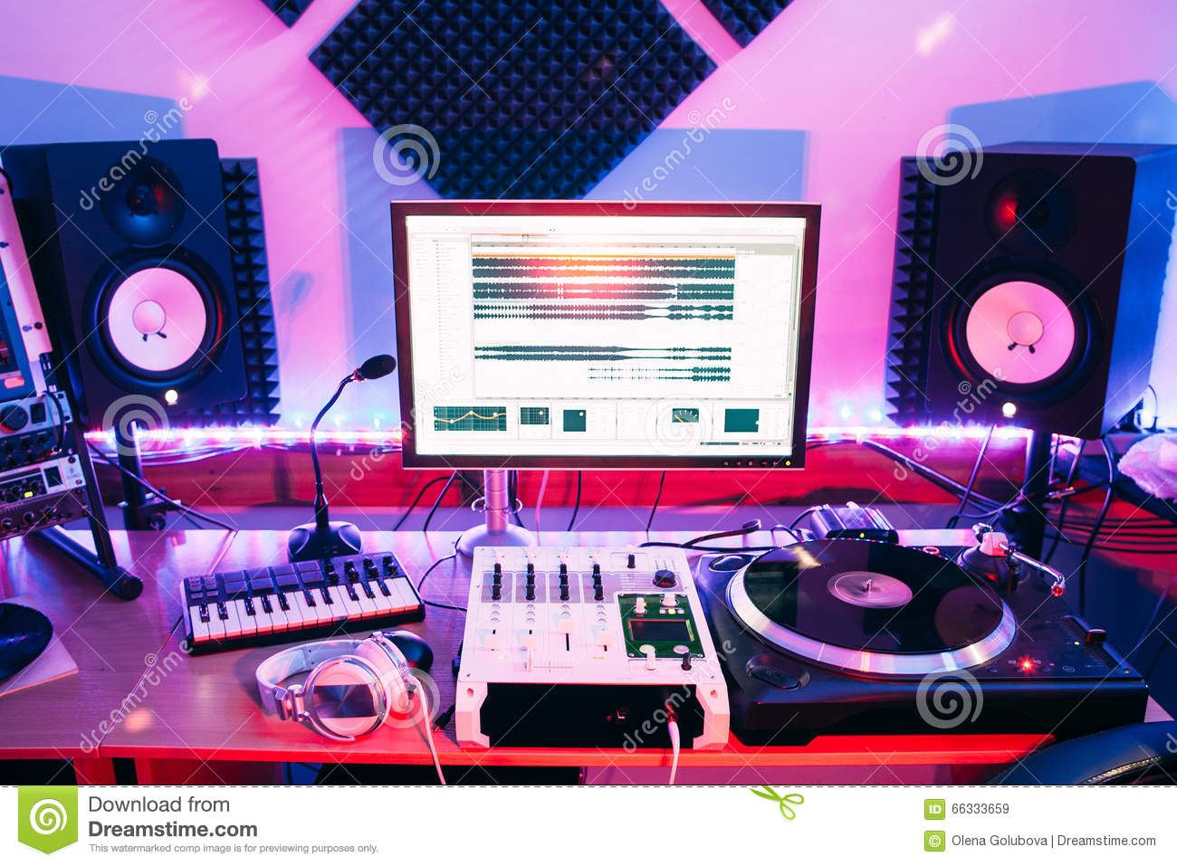 sound studio recording equipment music mixer controls at concert or party in a night club soft. Black Bedroom Furniture Sets. Home Design Ideas