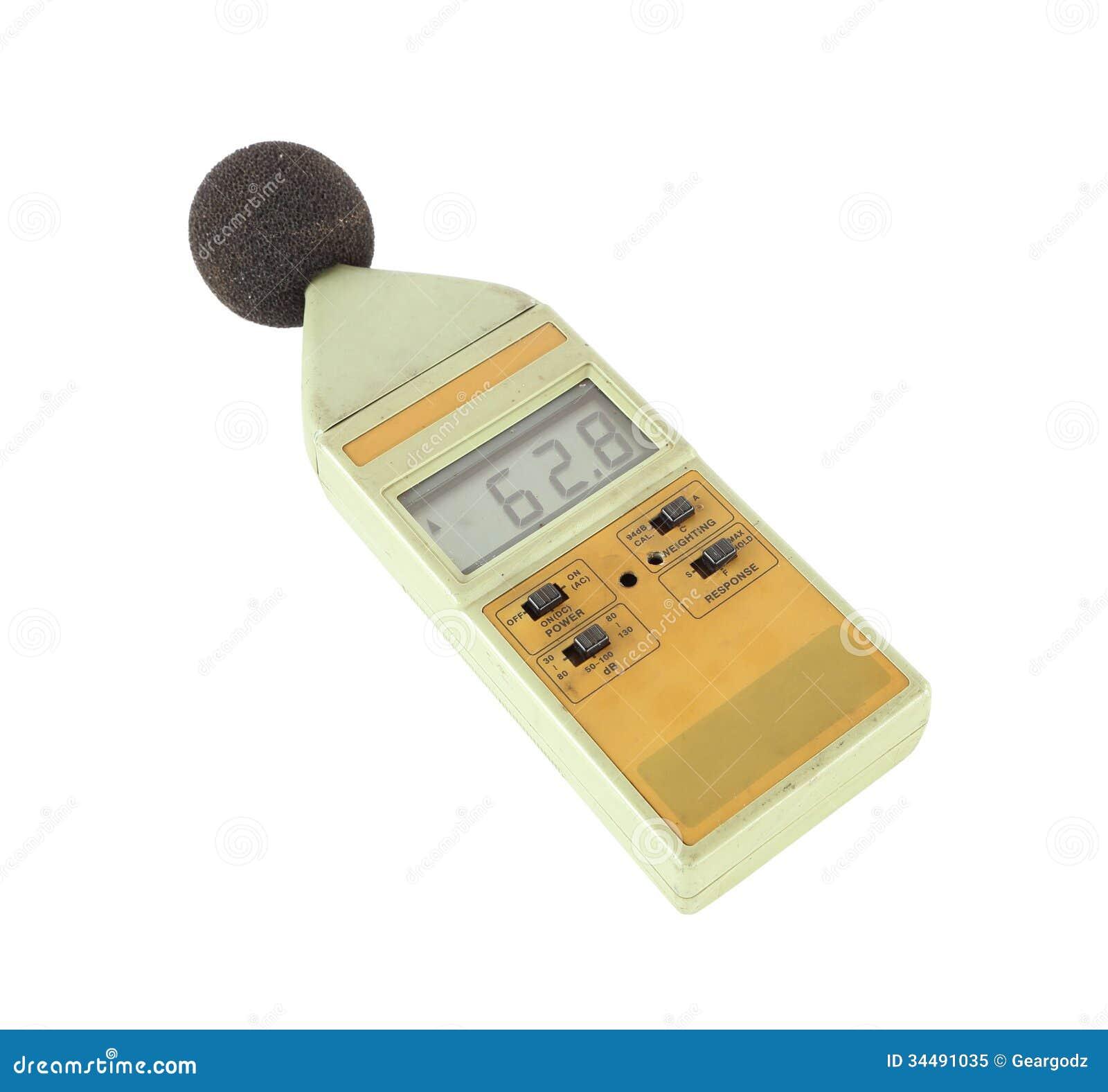 Sound level meter on white background