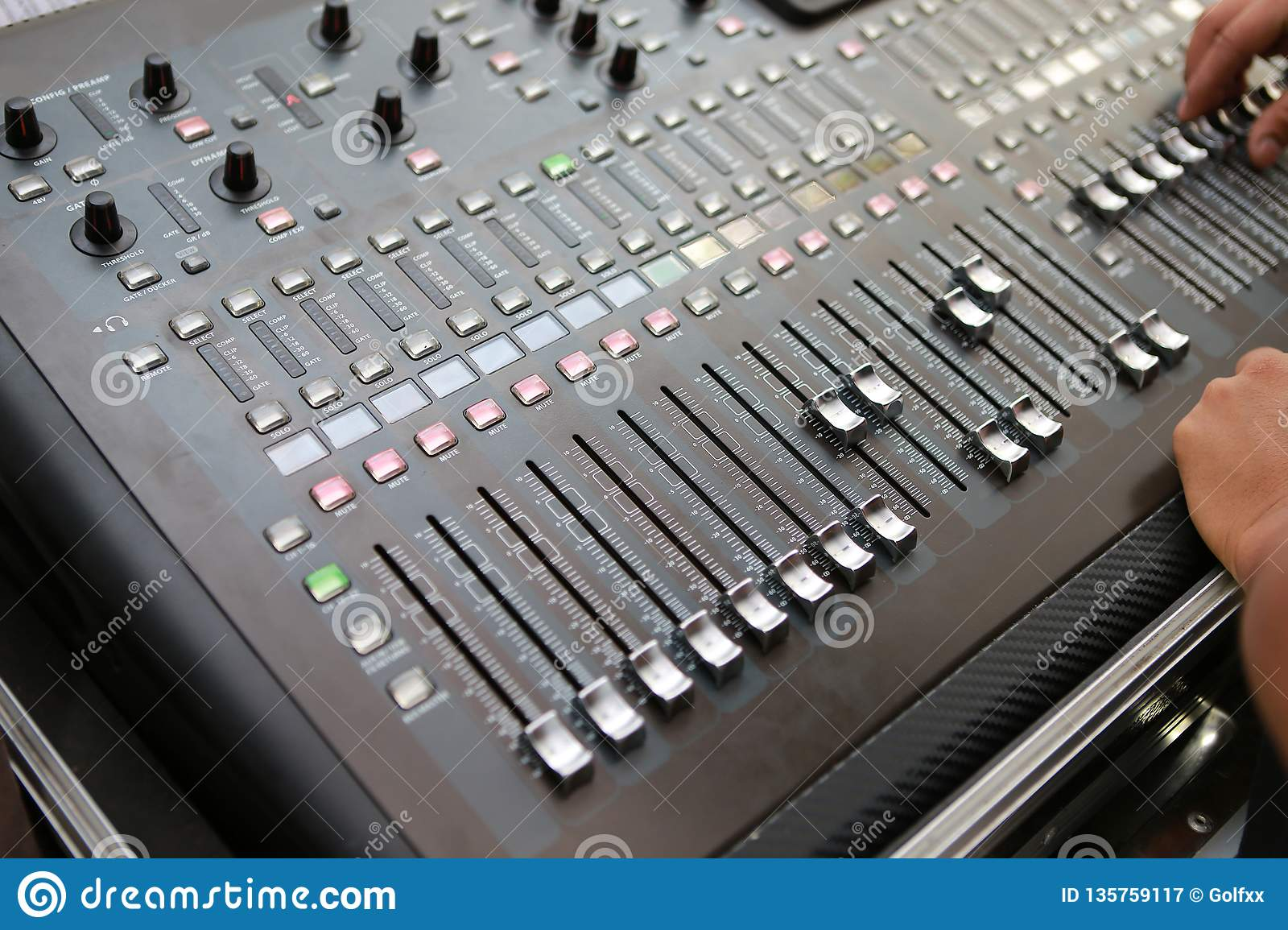 Sound levels on a professional audio mixer, Music control panel