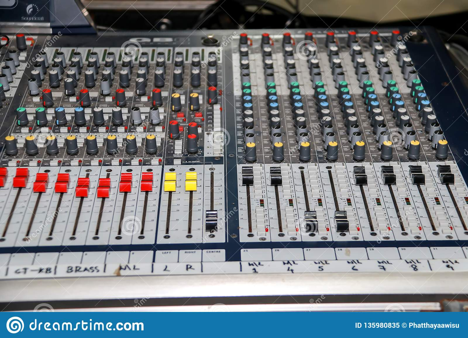 Sound Mixer Equalizer Panel With Dial Knob And Sliders Set