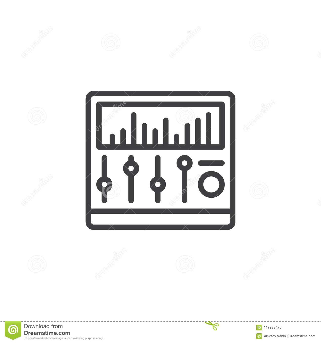 Sound mixer outline icon stock vector  Illustration of