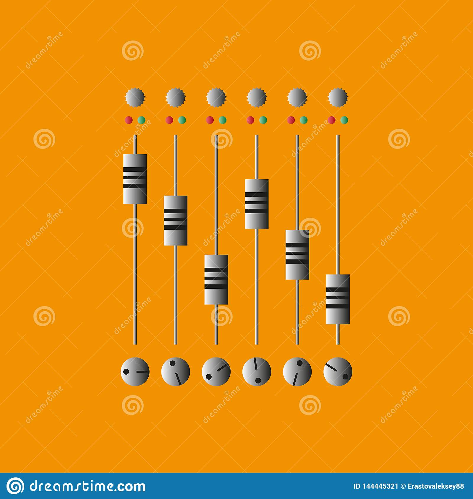 Sound Mixing Console  Vector Illustration  Record And Mix