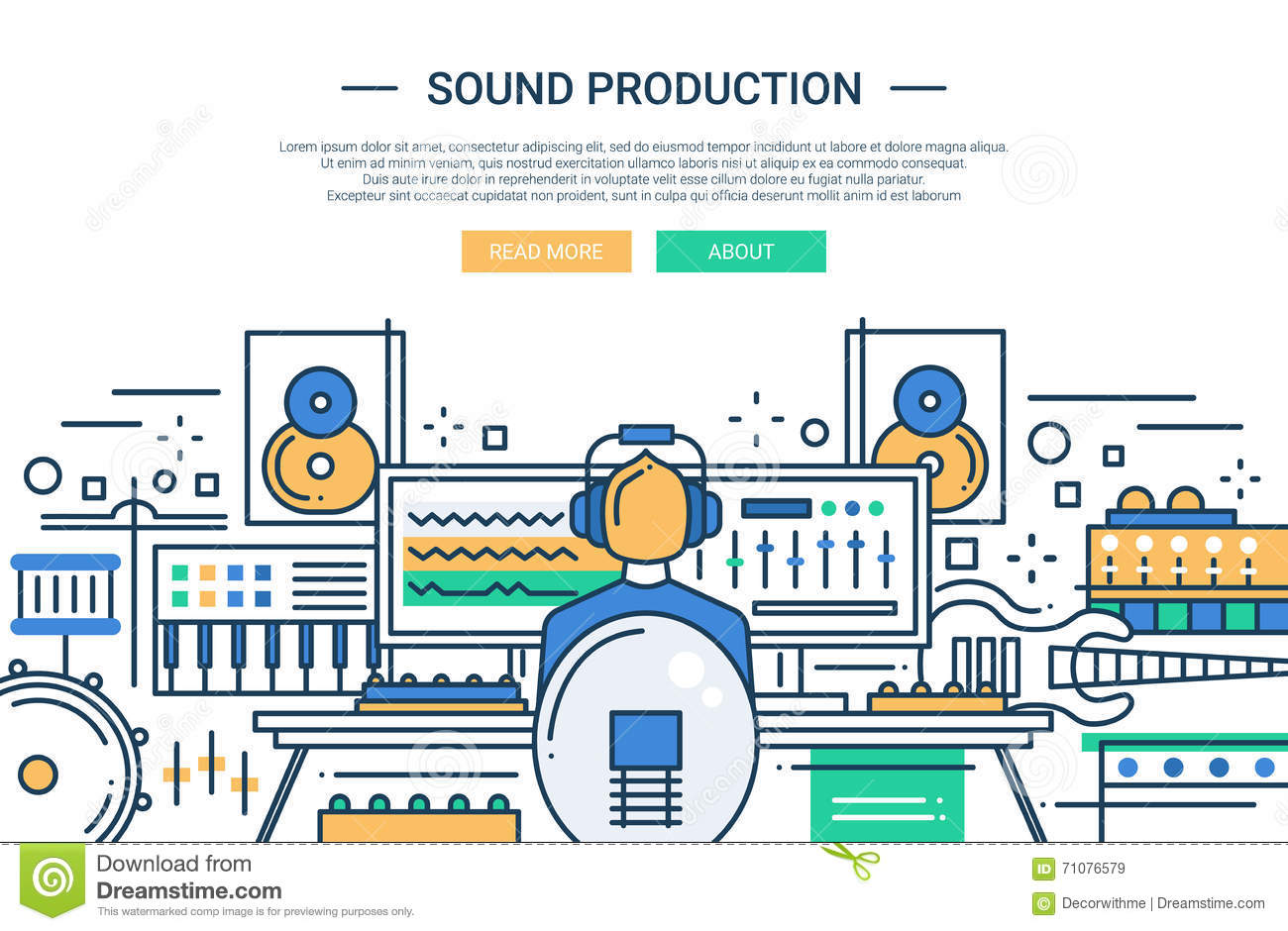 Sound Production - Website Header Banner Template Stock Vector ...