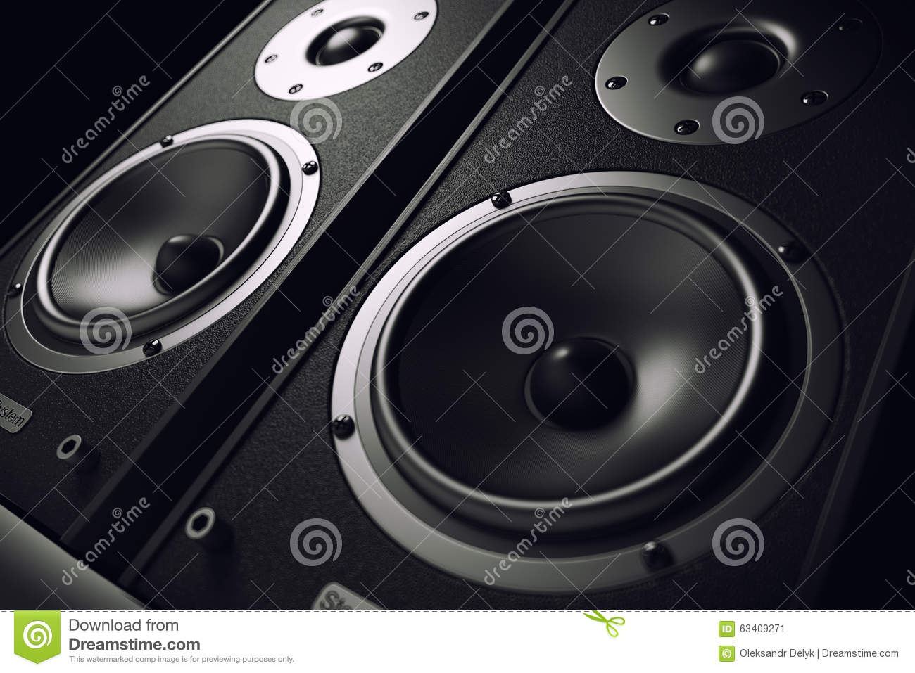 Sound Speakers Close Up Audio Stereo System Stock
