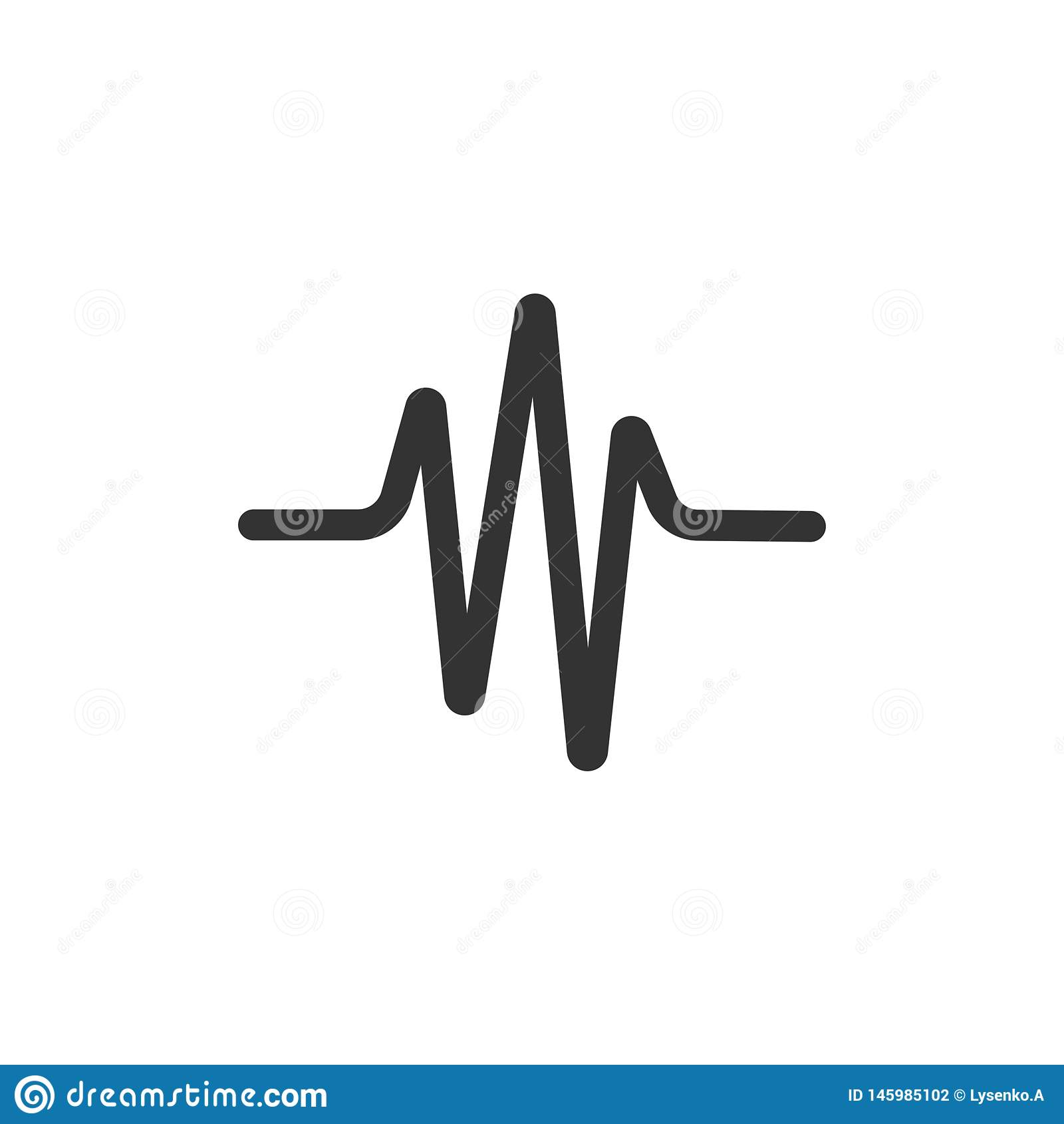 Sound wave icon in flat style. Heart beat vector illustration on white isolated background. Pulse rhythm business concept