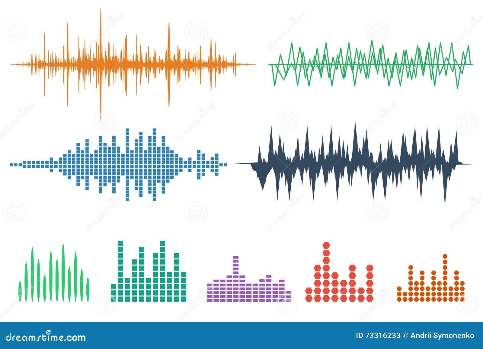 Sound Wave Icon Set. Music soundwave icons set. Equalize audio a