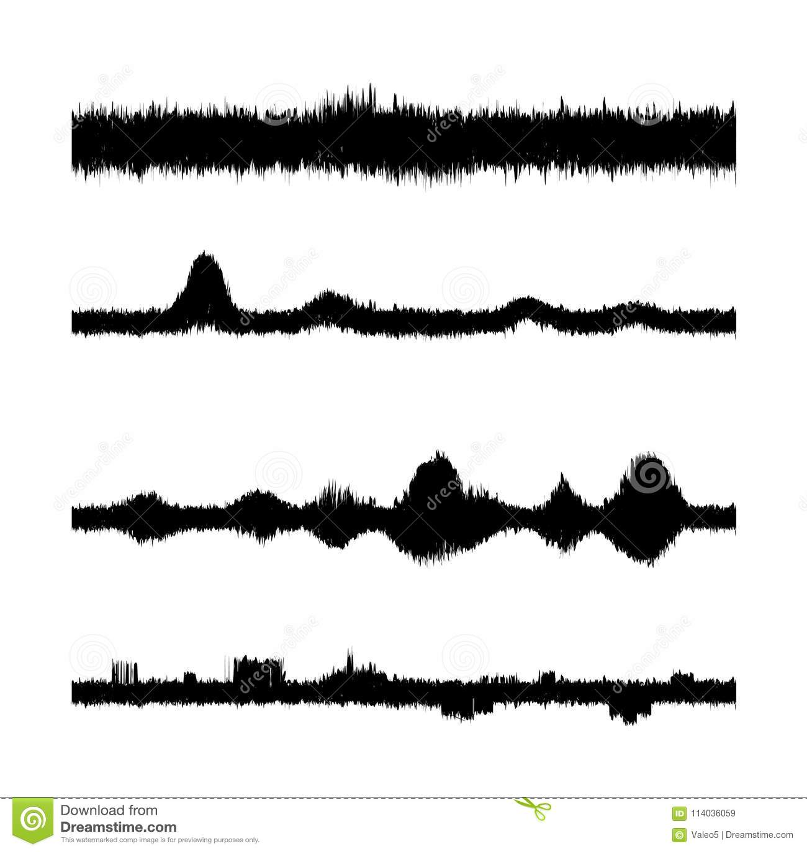 Sound Waves Set Screen Of Equalizer Musical Vibration Graph Radio Wave Amplitude