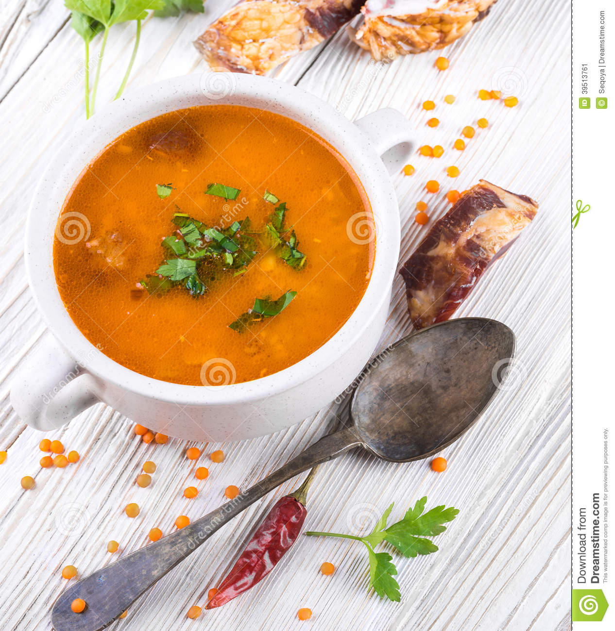 Soup of bulgur and lentils with smoked
