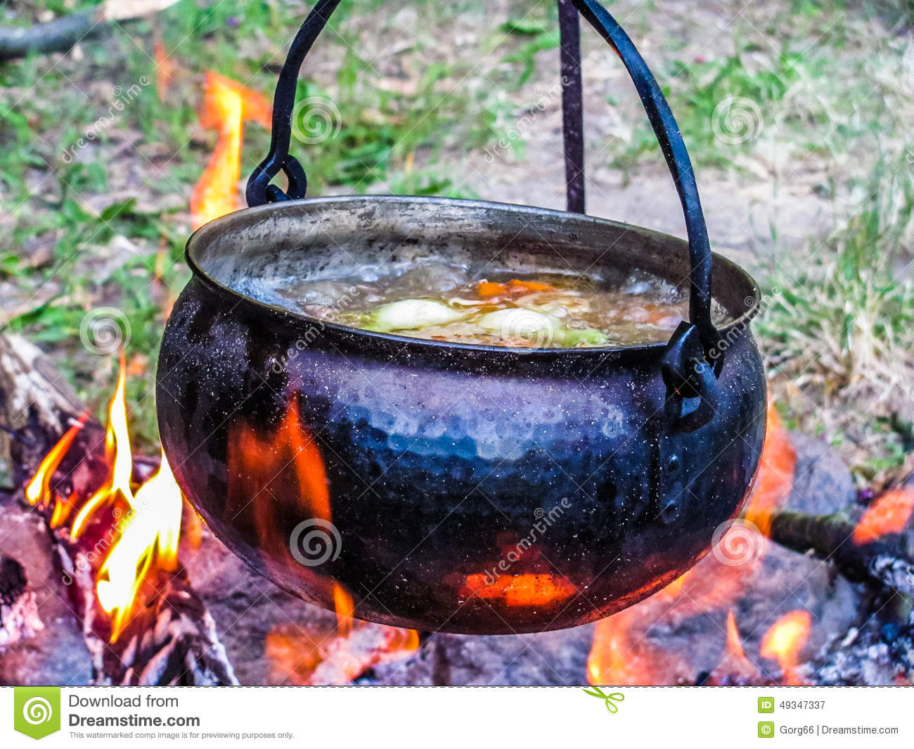 Cooking With A Kettle ~ Kettle on the fire stock photo image