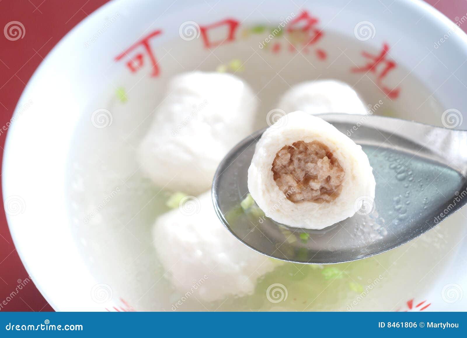Soup för fisk för boll kinesisk skivad inre meat