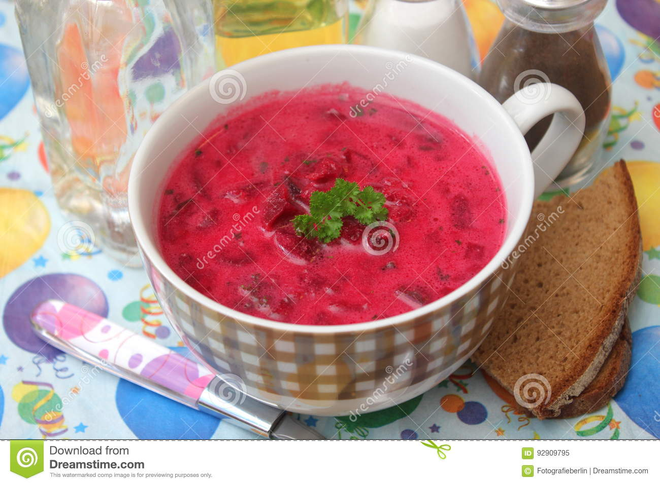 Soup of red beet roots