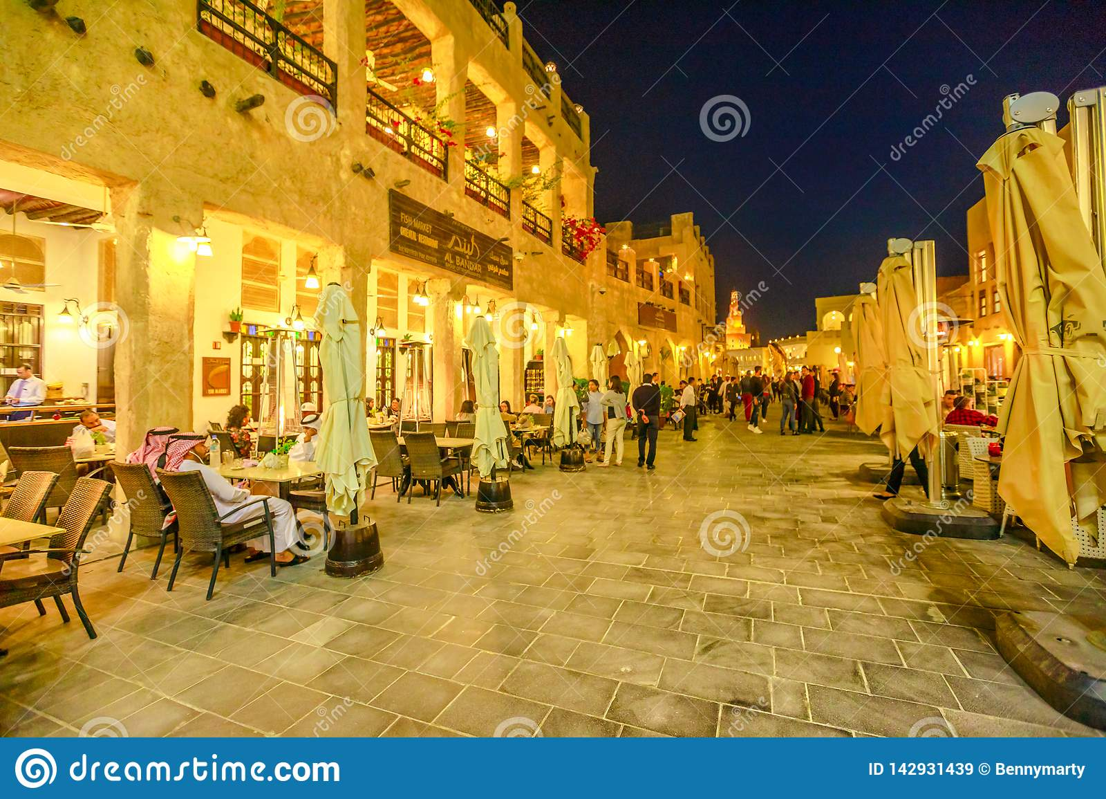 Souq Waqif by night editorial stock image  Image of mosque - 142931439