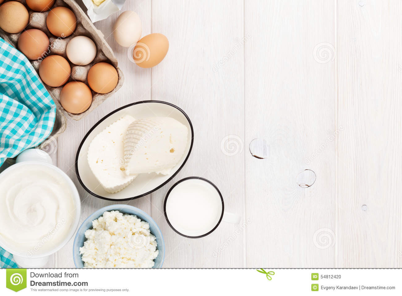 Milk Cottage Cheese Sour Cream Butter Eggs Stock