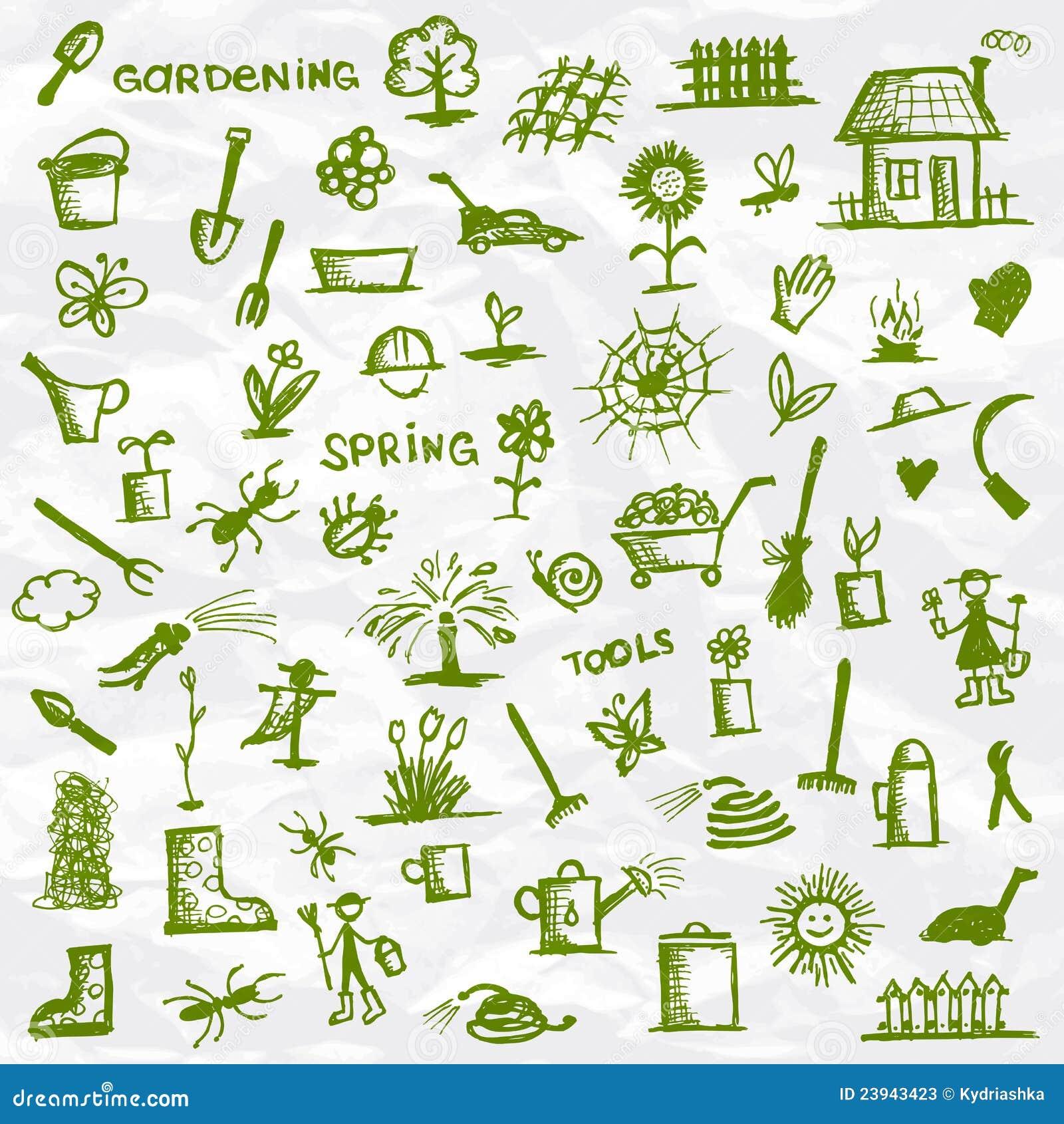 Source croquis d 39 outils de jardin photos stock image for Outil de conception jardin