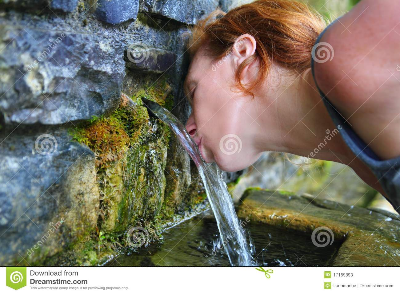 Source Of Spring Water Woman Drinking Stock Photos - Image: 17169893