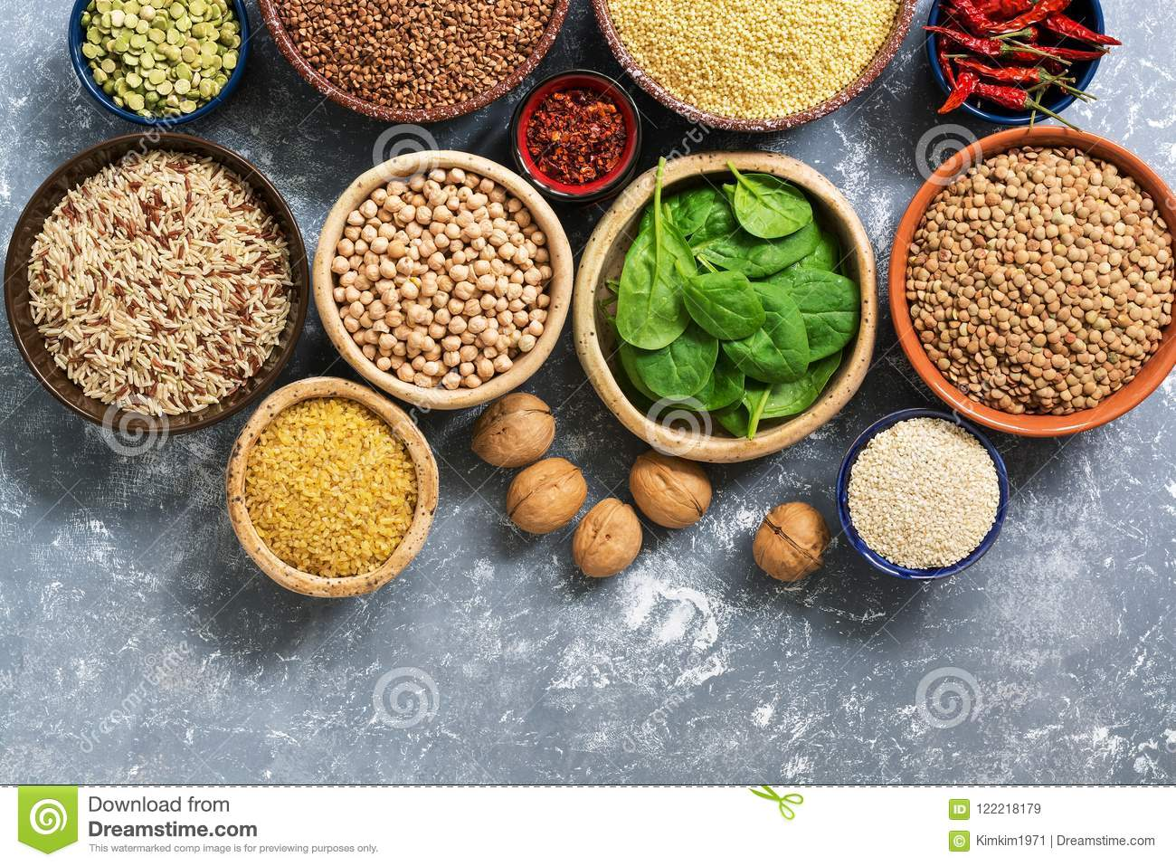 A source of vegetarian protein and vitamins , a variety of cereals,beans,herbs,nuts. Chickpeas, rice,buckwheat,bulgur,lentils, pea