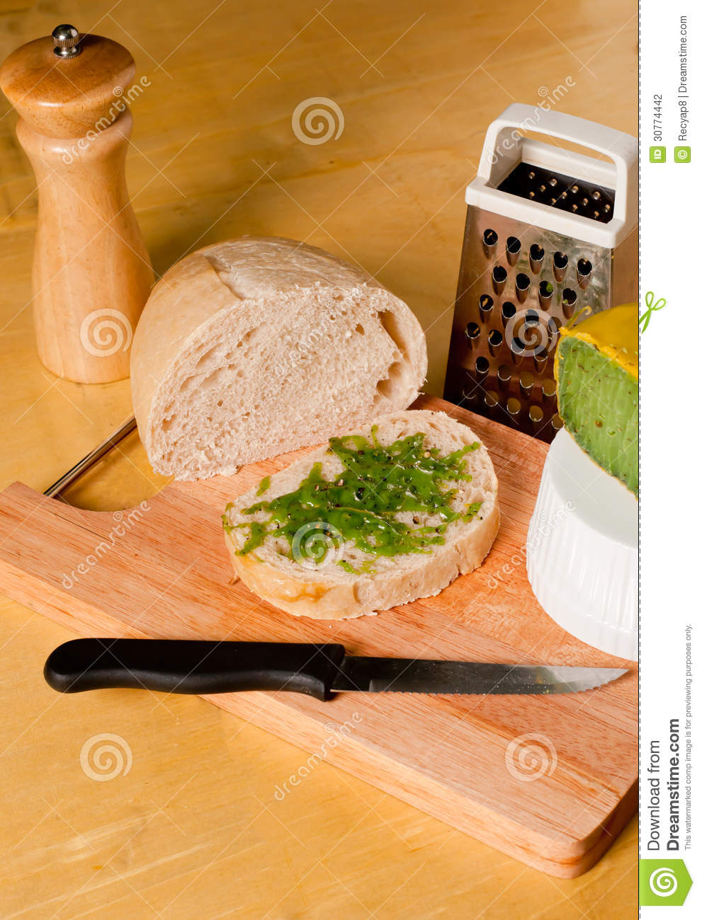 Sourdough With Mozzarella Pesto Stock Photography - Image: 30774442