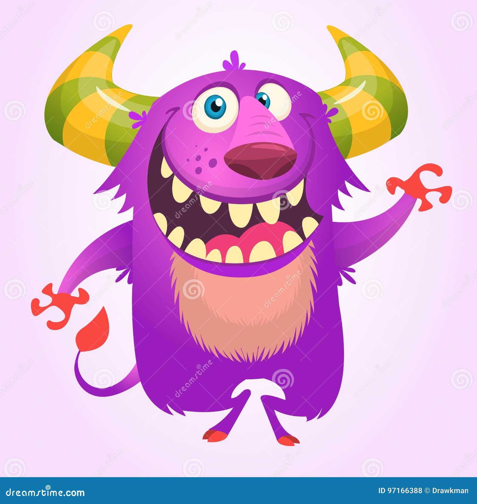 Sourire à cornes de bande dessinée mignonne et pelucheux violet de monstre Illustration de vecteur de Veille de la toussaint
