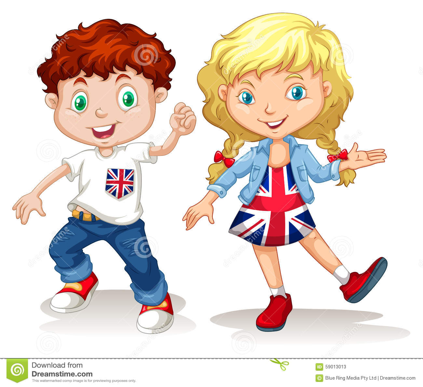 Sourire britannique de garçon et de fille