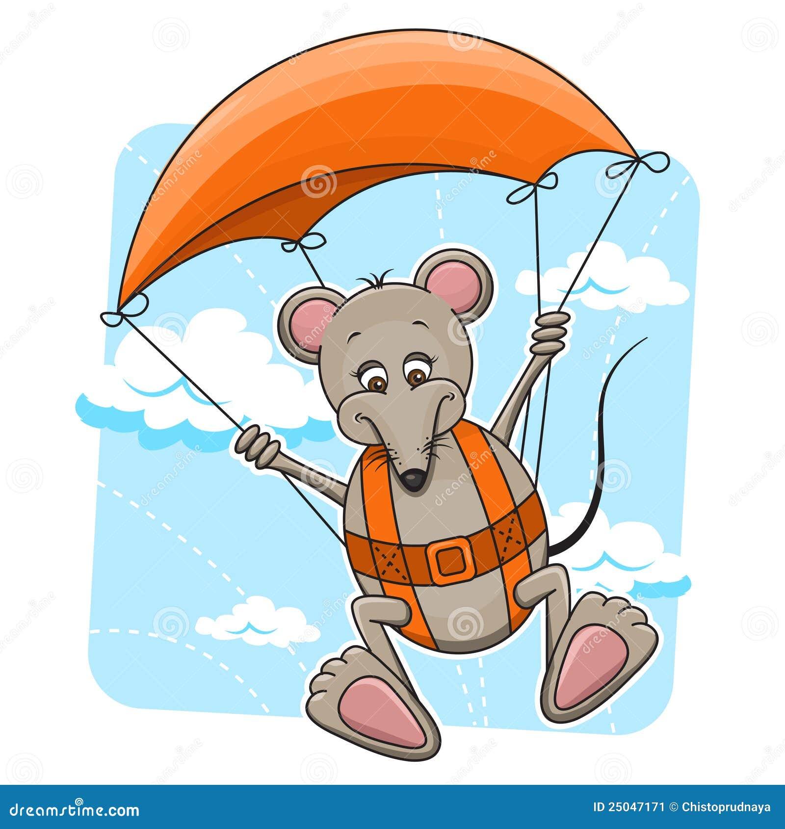 Souris avec le parachute image stock image 25047171 - Dessin parachutiste ...