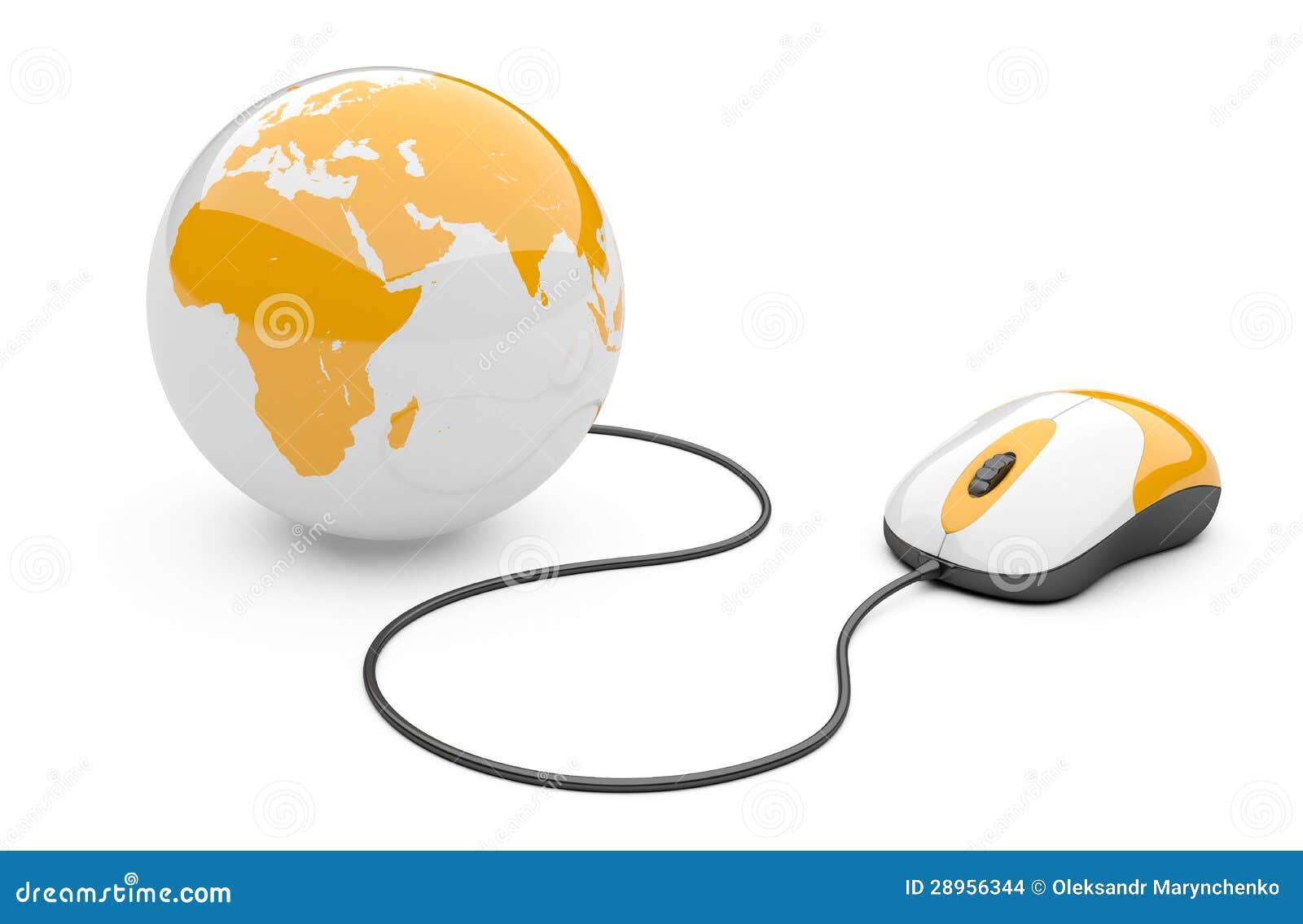 Souris d 39 ordinateur connect e un globe images stock image 28956344 - Les souris d ordinateur ...