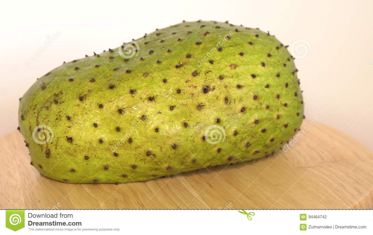 Soursop, Custard Apple, Annona muricata L on wooden board