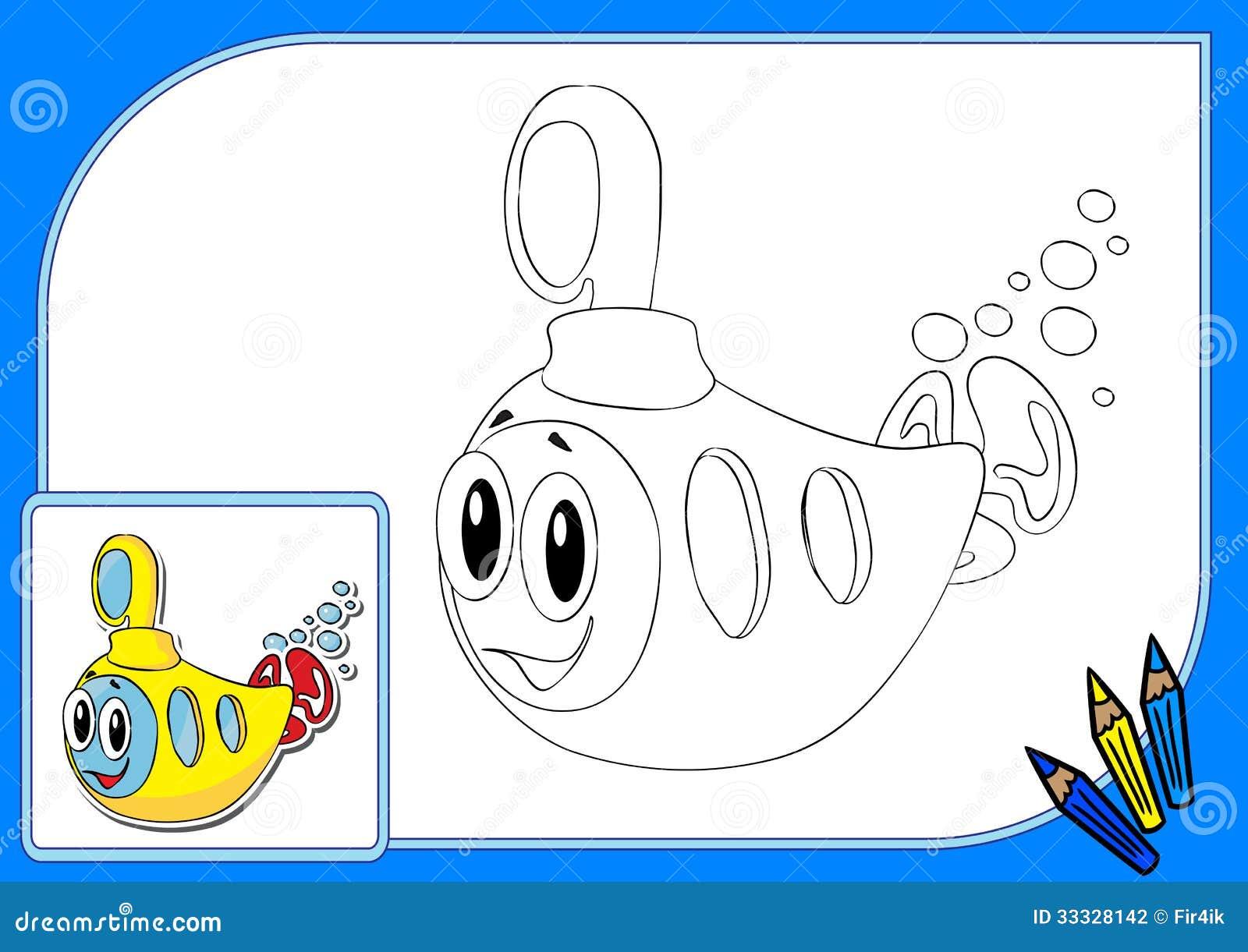 Sous marin jaune de livre de coloriage illustration de - Dessin sous marin ...