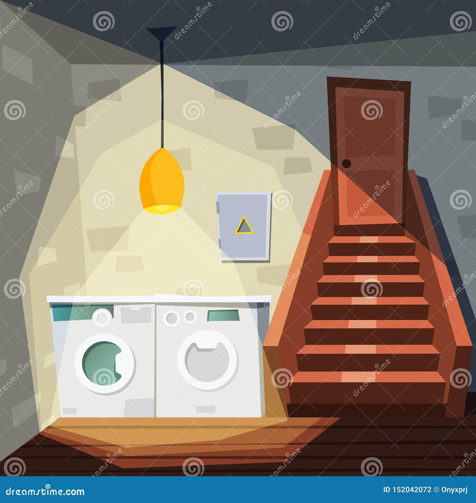 Sous-sol Pièce de maison de bande dessinée avec le sous-sol avec le vecteur intérieur d entrepôt d escalier de machine de blanchi