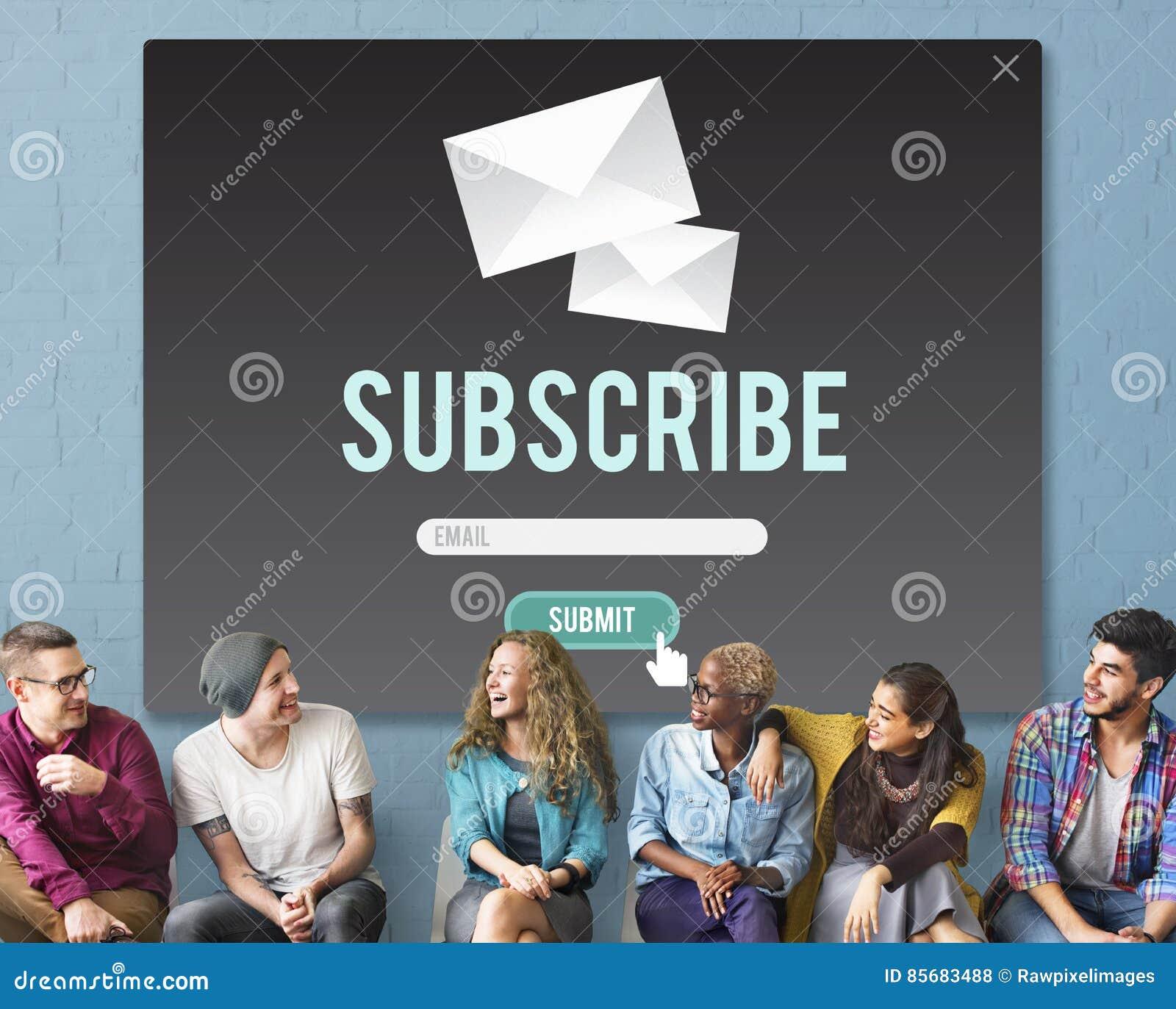 Souscrivez le concept de membre de communication de la publicité