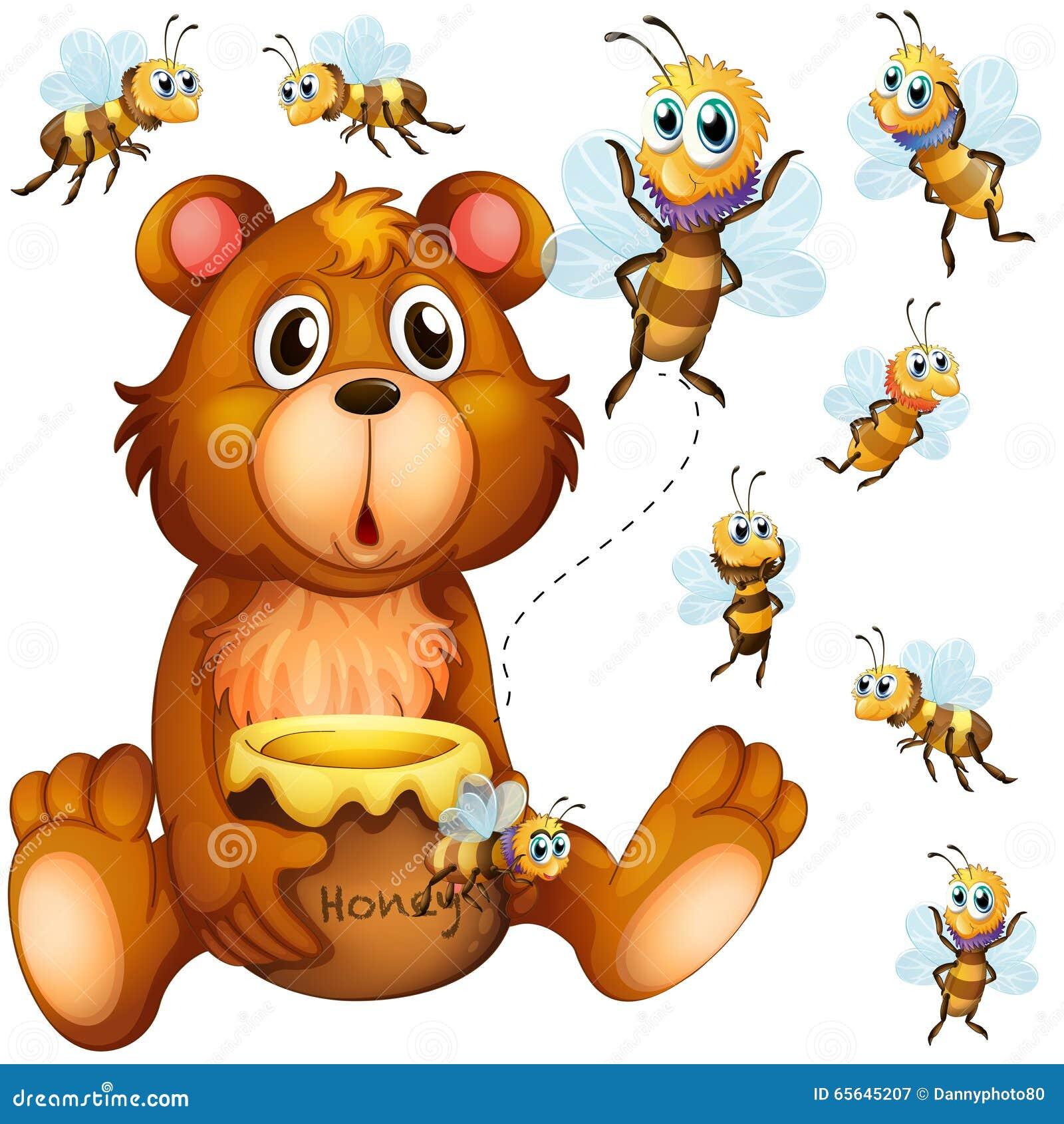 Soutenez juger le pot et les abeilles de miel volant autour