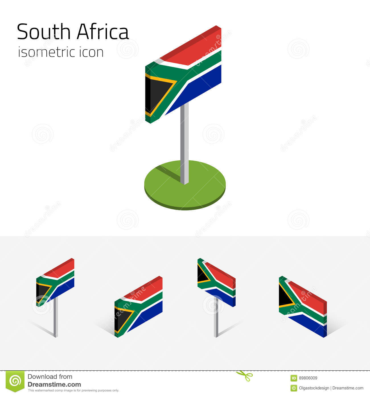 South Africa Flag, Vector Set Of 3D Isometric Flat Icons