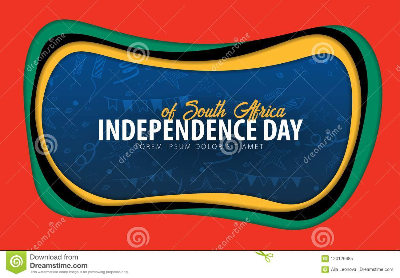 South Africa Independence Day Greeting Card Paper Cut Style Stock