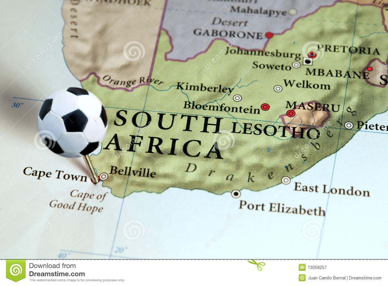 South Africa on map stock image Image of town cartography