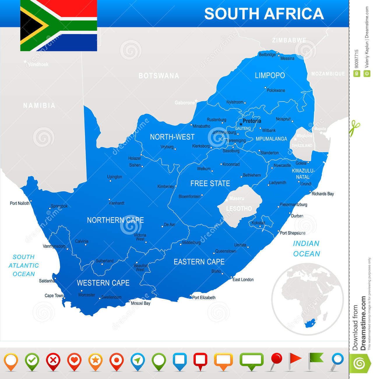 South Africa Map And Flag Illustration Stock Illustration