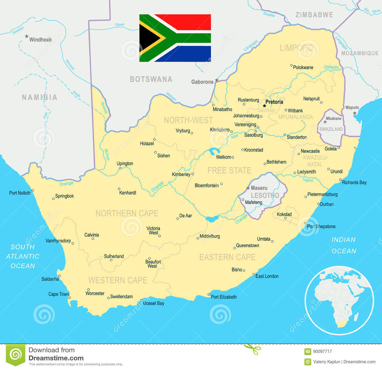 Illustration 90097717 Map Of Free Detailed Flag Africa And South Stock -