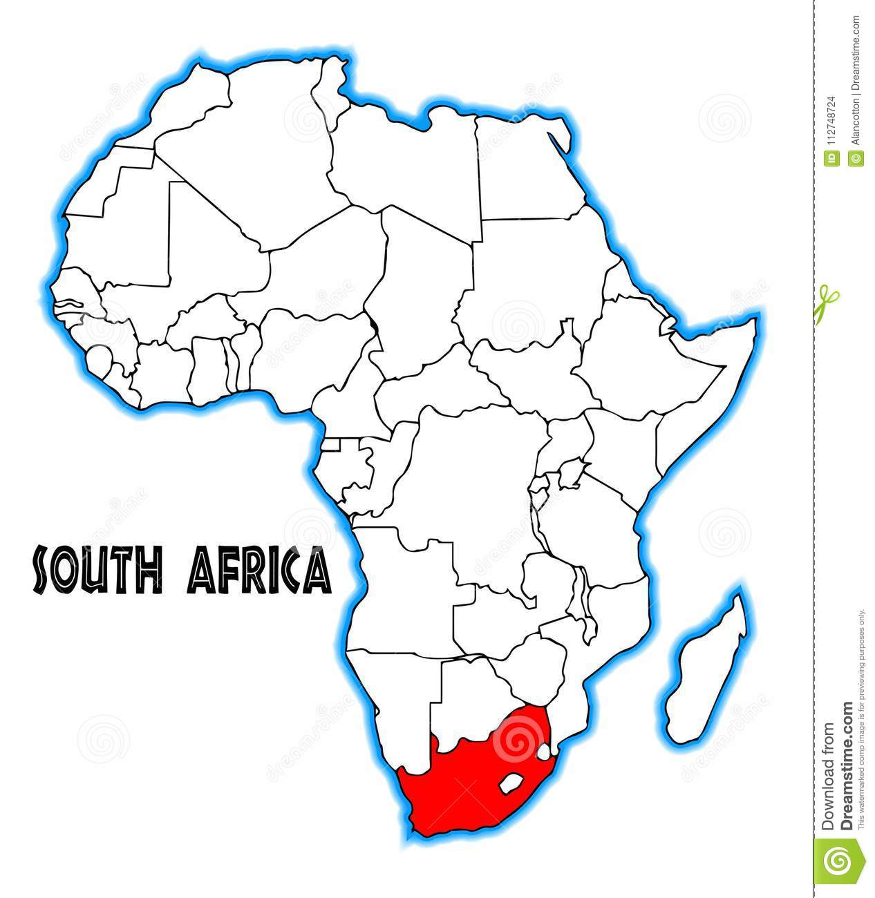 South Africa Map stock vector. Illustration of african   112748724