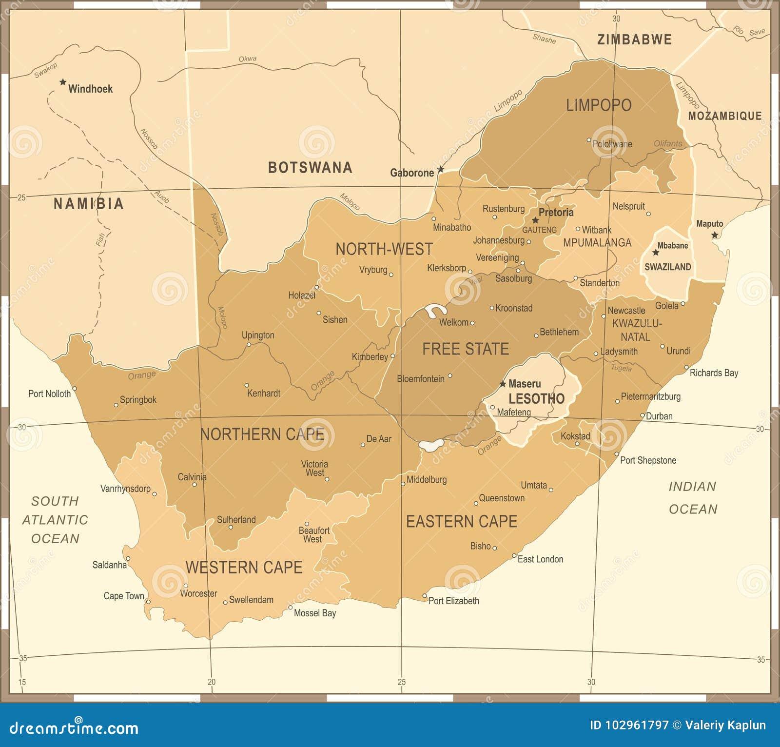 South Africa Map - Vintage Vector Illustration Stock Illustration ...