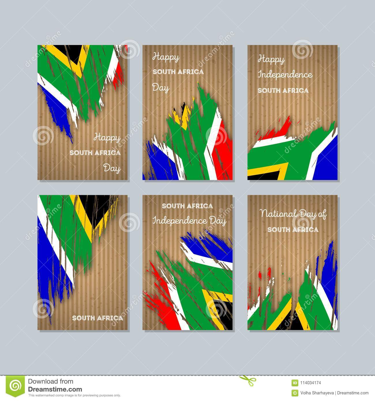 South Africa Patriotic Cards For National Day Stock Vector