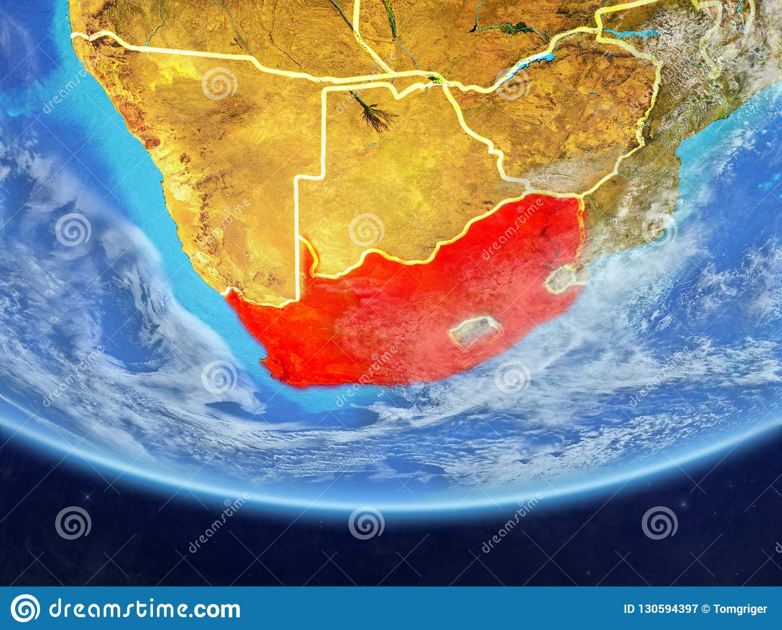 Map Of Africa From Space.South Africa From Space On Earth Stock Illustration Illustration