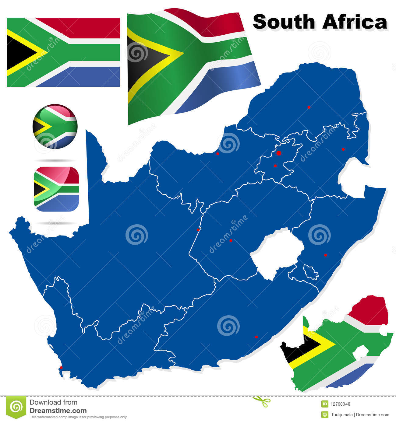 South Africa vector set.