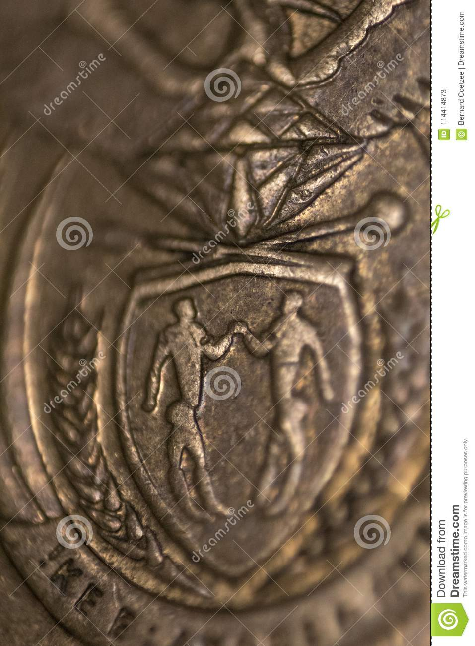 South African Close Up Coin Symbol Of South Africa Stock Image