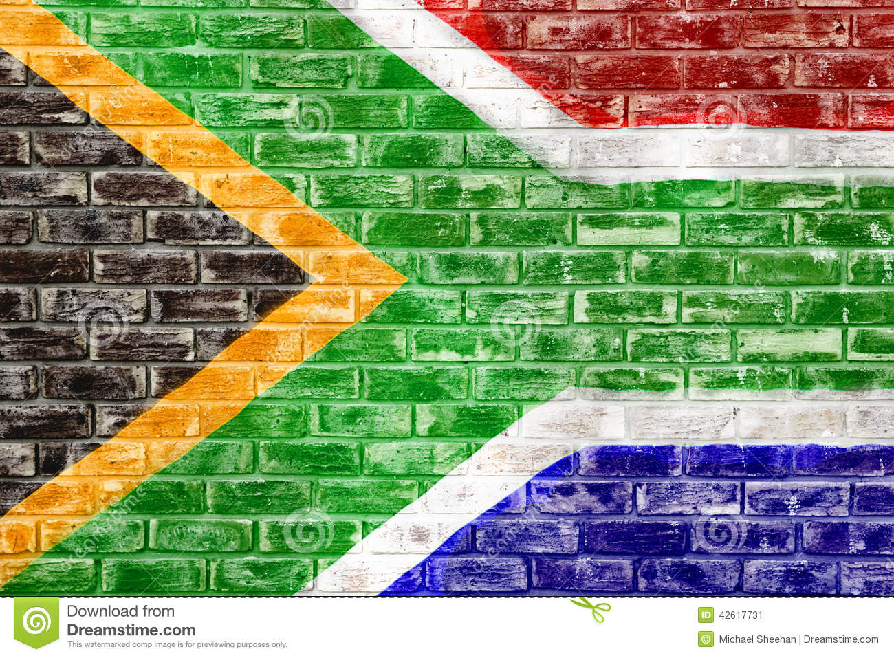South African Flag On A Brick Wall Stock Illustration Illustration