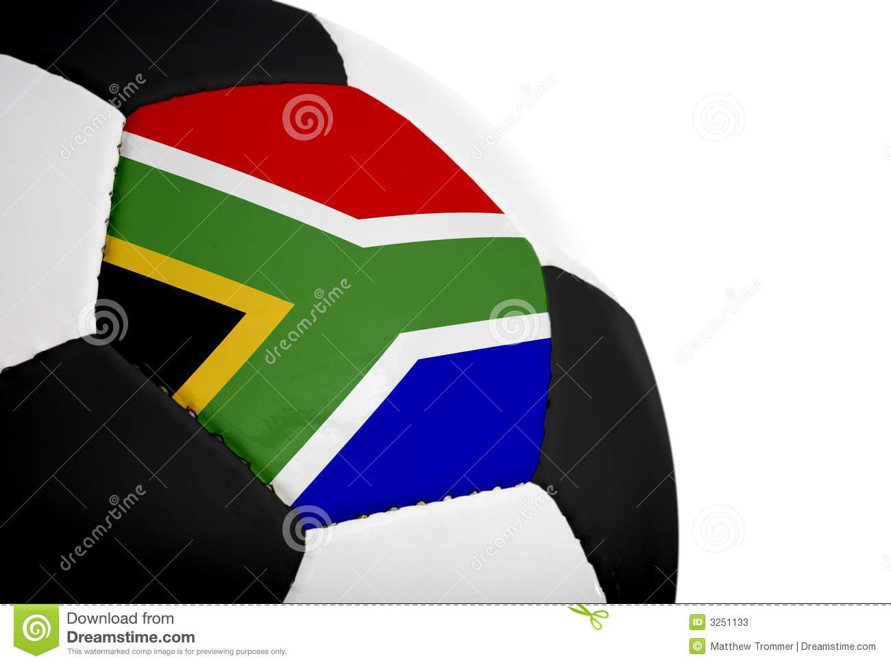 South african flag painted/projected onto a football (soccer ball