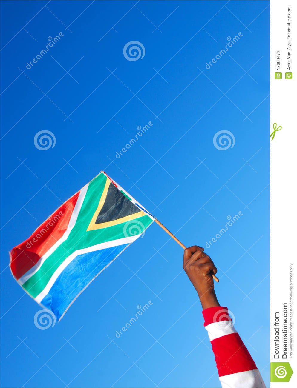South African flag in hand