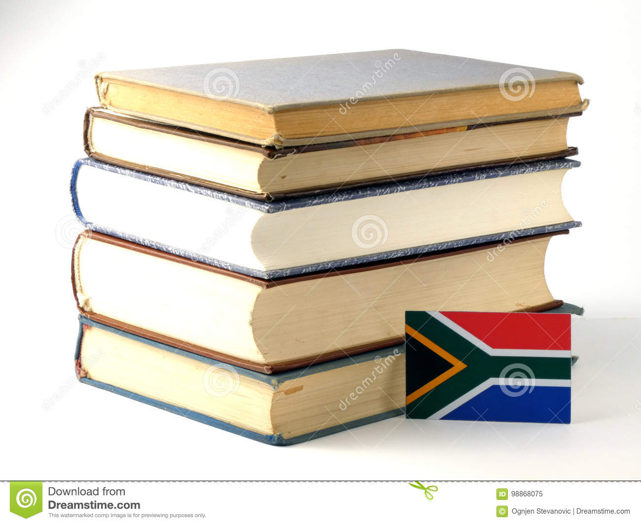 South African flag with pile of books isolated on white backgrou