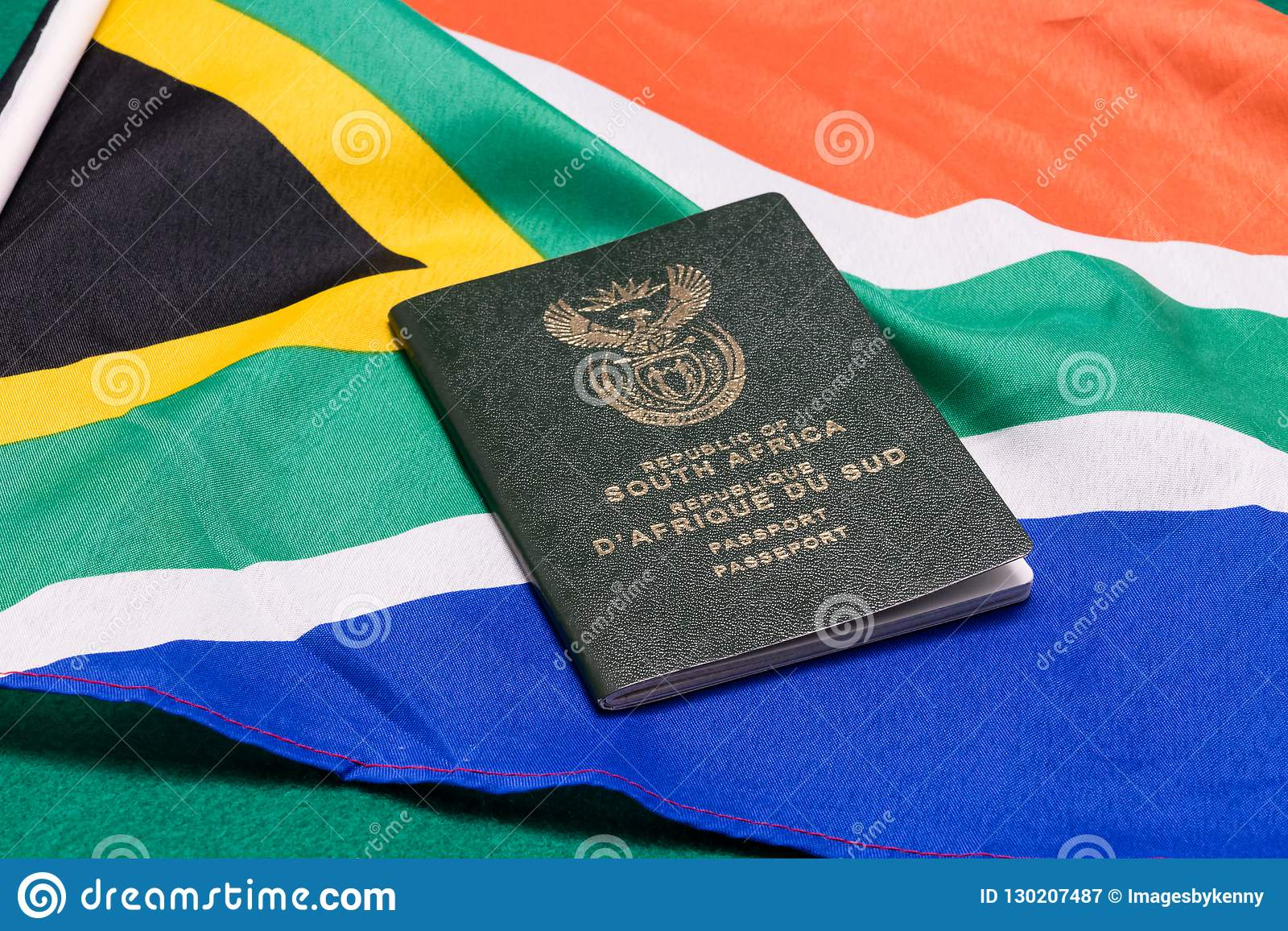 South African passports on flag